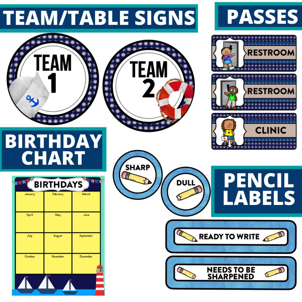 printable and editable nautical theme classroom decor packets