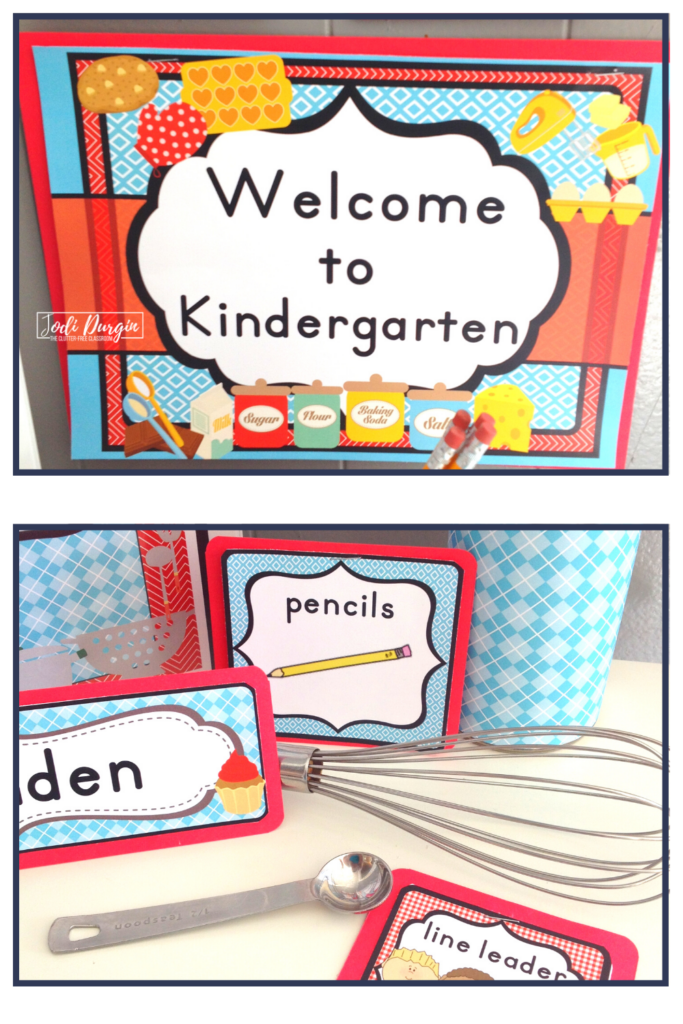 An editable welcome sign and labels for a cooking theme.