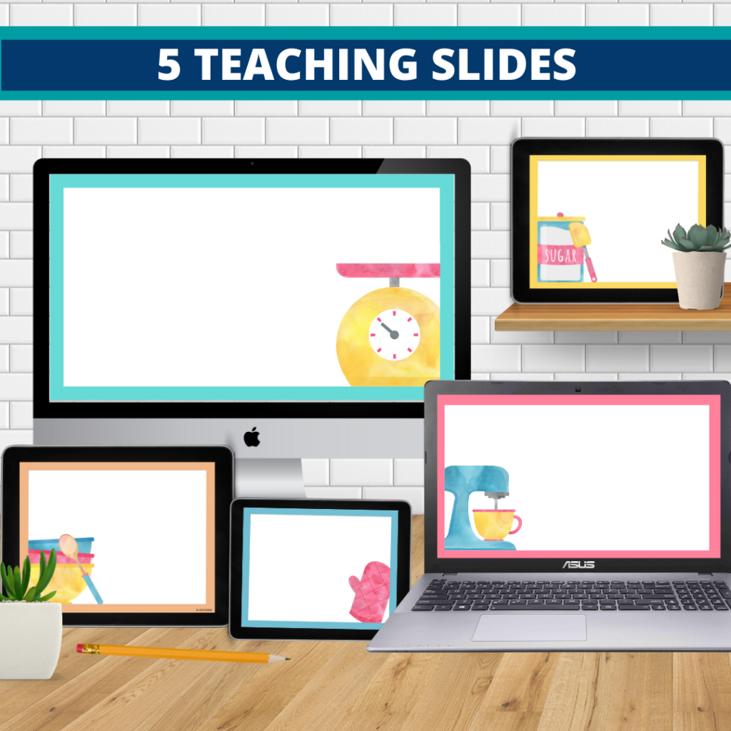 cooking theme google classroom slides and powerpoint templates for elementary teachers shown on computers
