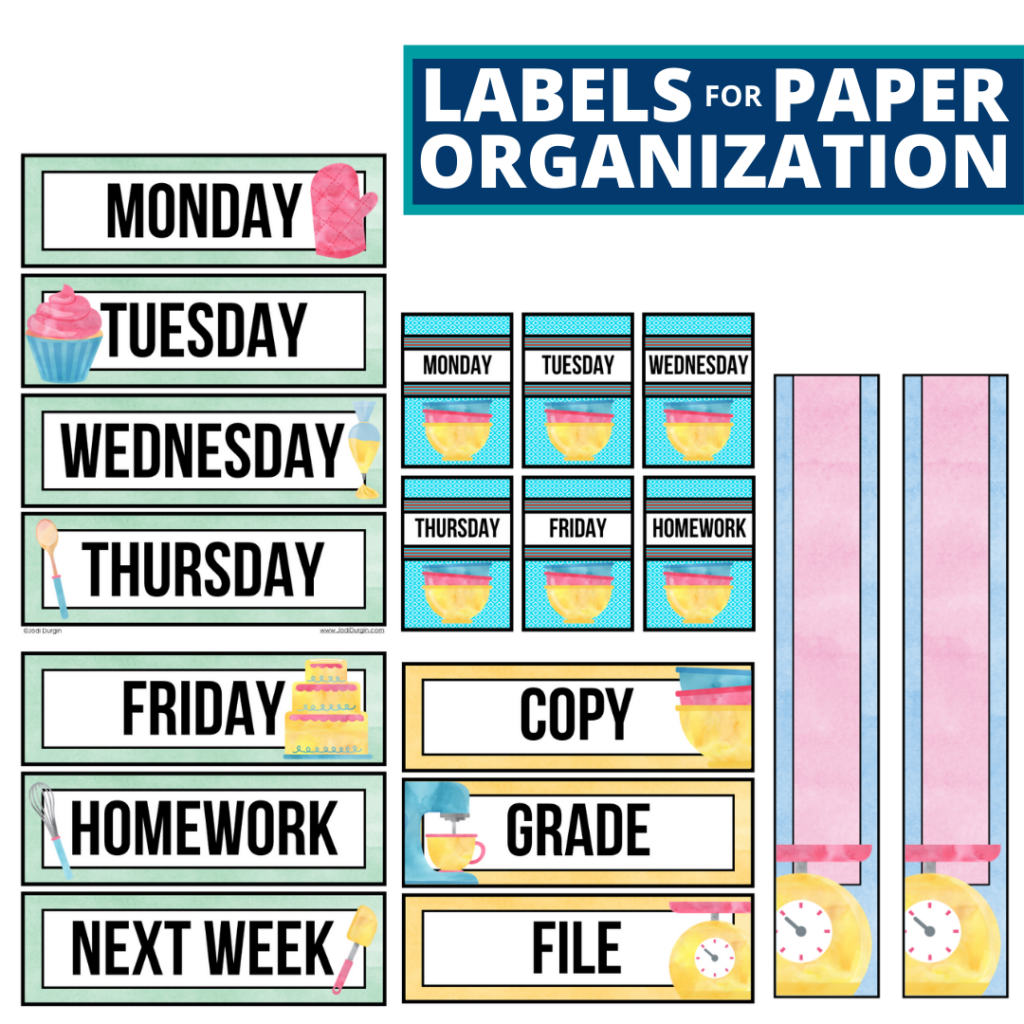 cooking theme labels for paper organization in the classroom