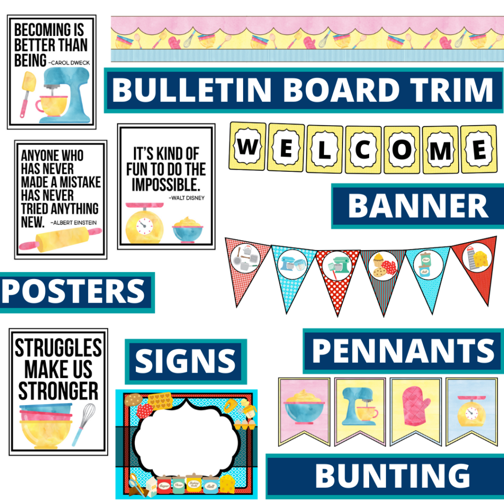 cooking theme bulletin board trim with pennants, banner and bunting