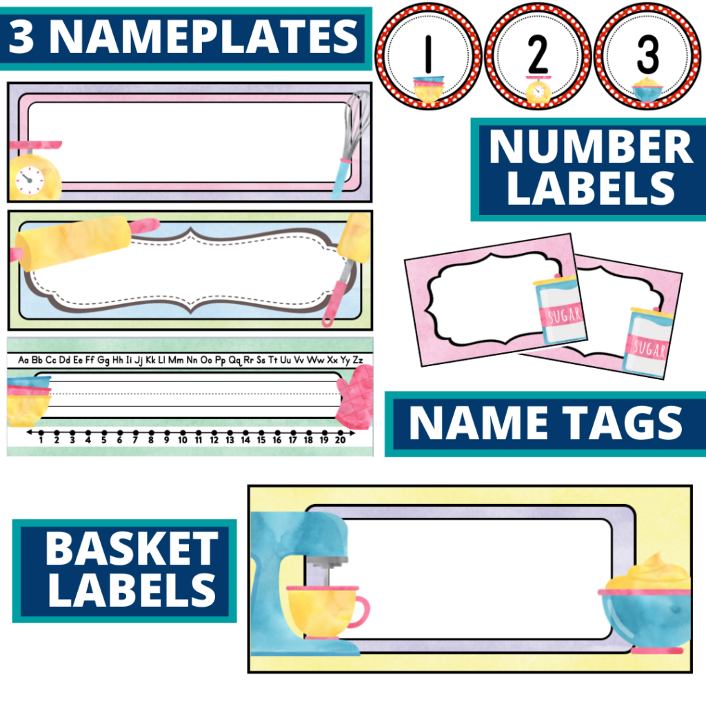 editable nameplates and basket labels for a cooking themed classroom