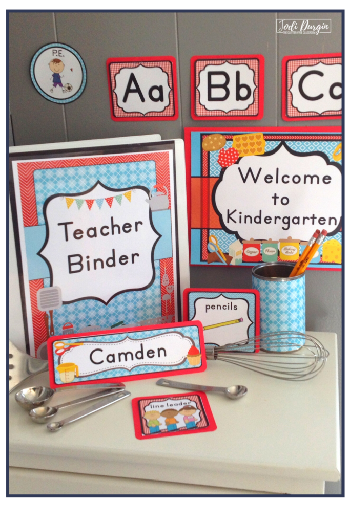 Classroom decor for a cooking themed classroom.