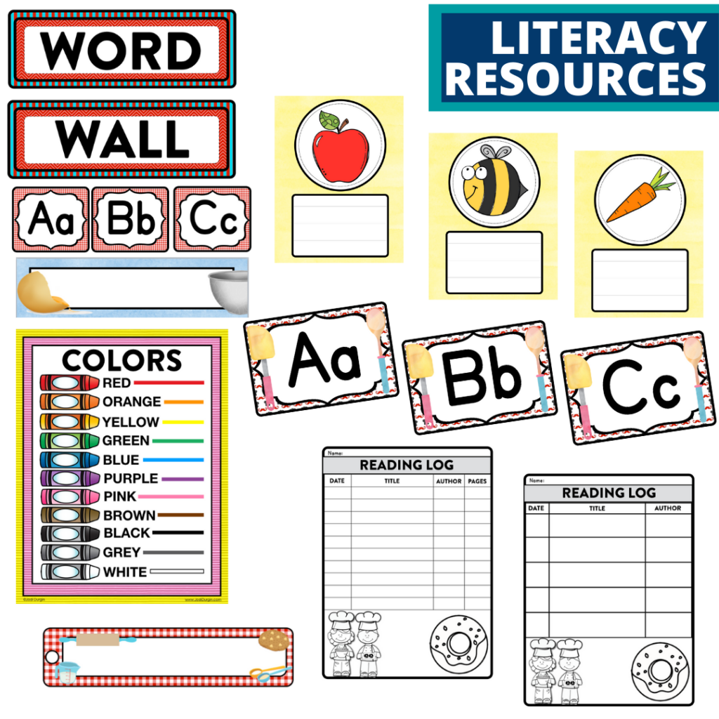 elementary classroom word wall and reading logs for a cooking themed classroom