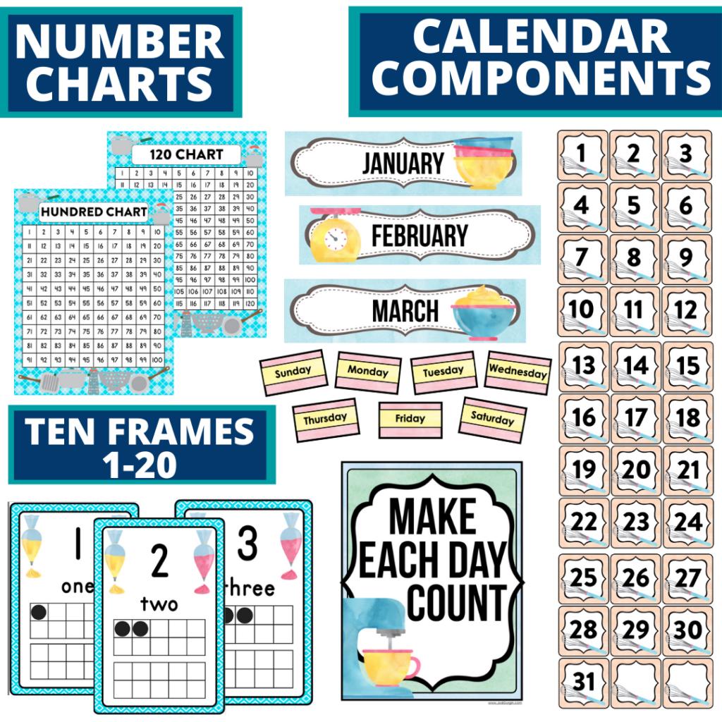 DIY printable classroom calendar for elementary teachers using a cooking classroom theme