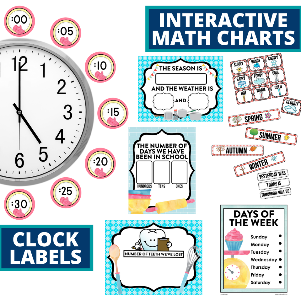 cooking themed math resources for telling time, place value and the days of the week