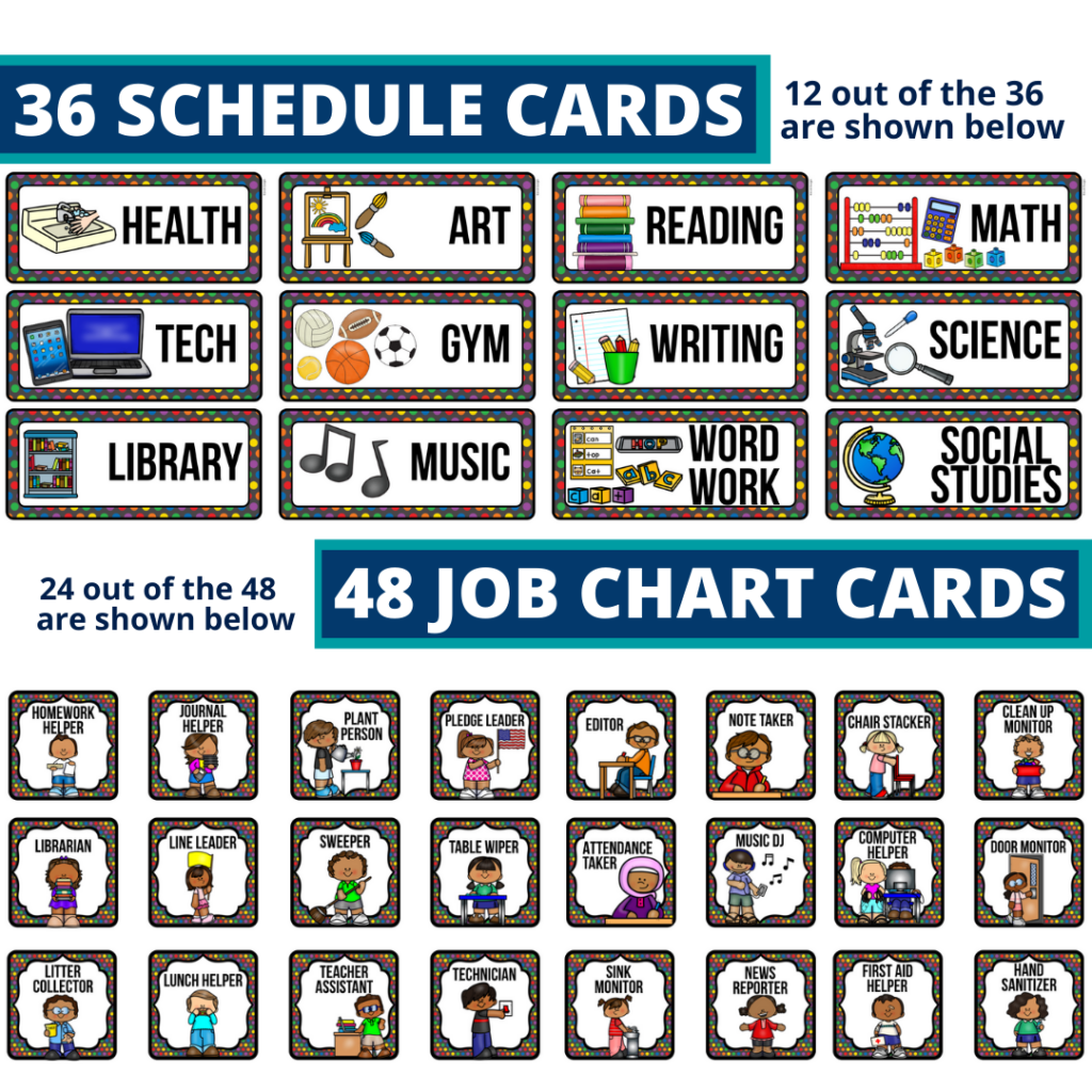 editable elementary schedule cards and job chart labels with a crayons theme