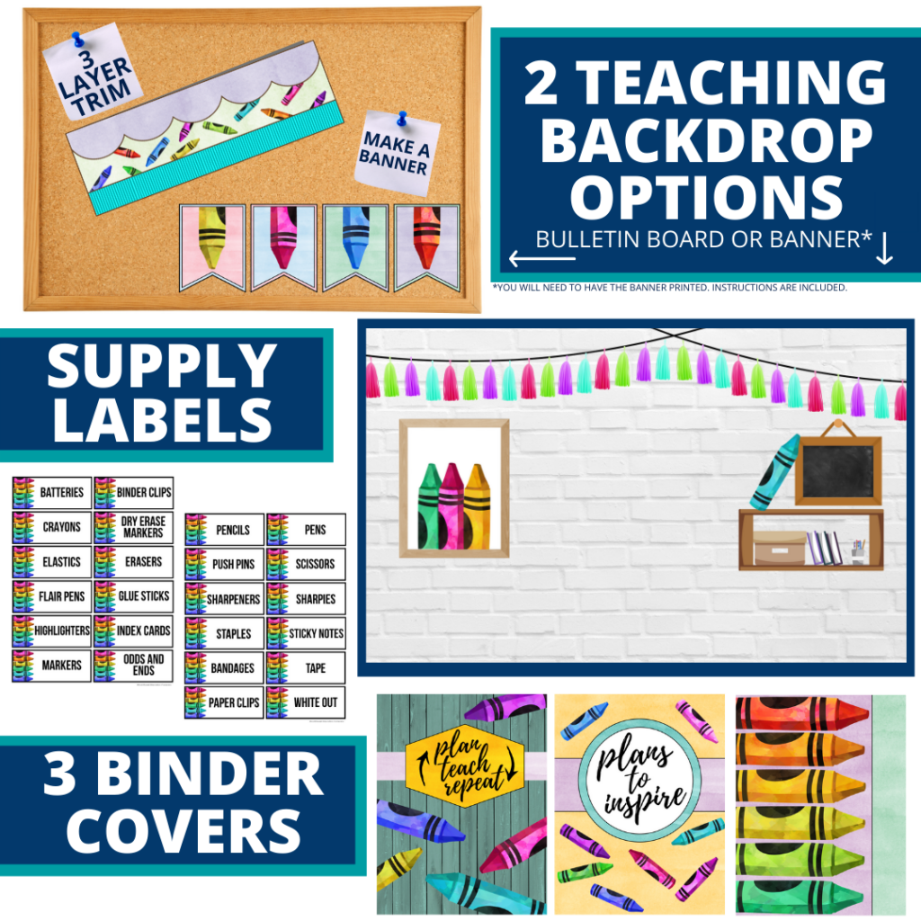 crayons themed background for a cheap and easy online teaching or a VIP kid backdrop