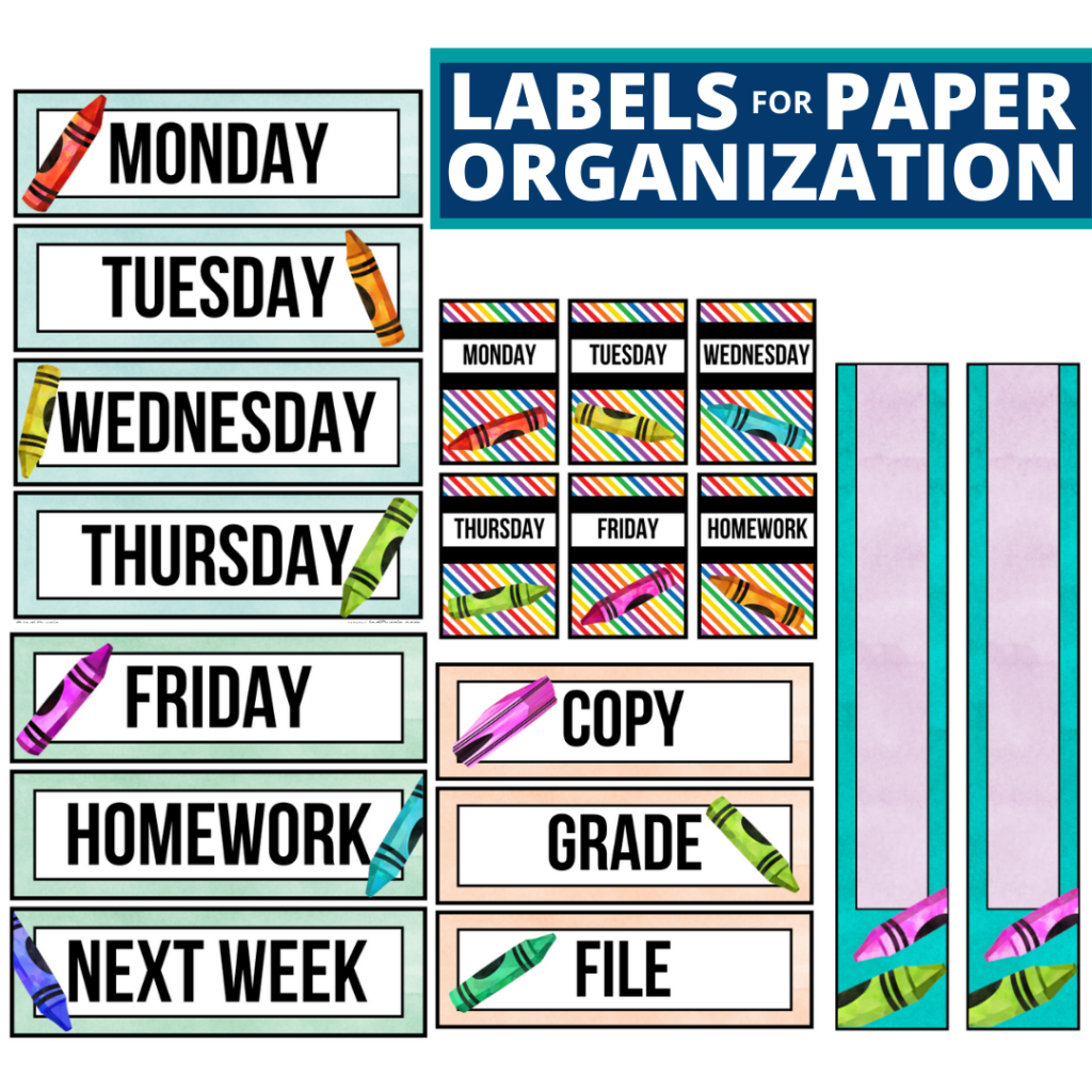 crayons theme labels for paper organization in the classroom