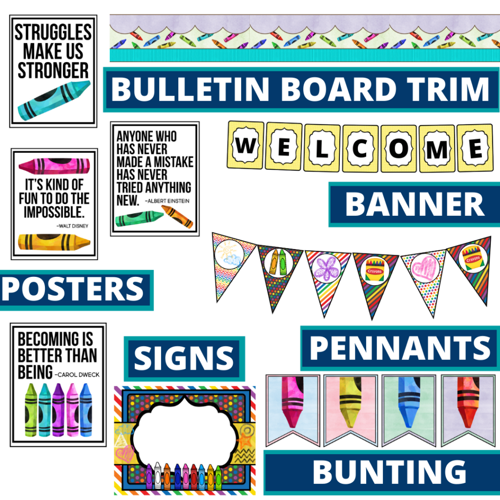 crayons theme bulletin board trim with pennants, banner and bunting