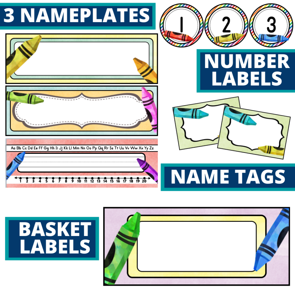 editable nameplates and basket labels for a crayons themed classroom