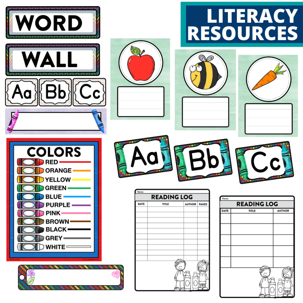 elementary classroom word wall and reading logs for a crayons themed classroom