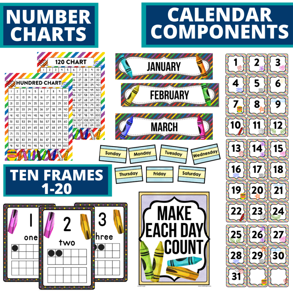 DIY printable classroom calendar for elementary teachers using a crayons classroom theme