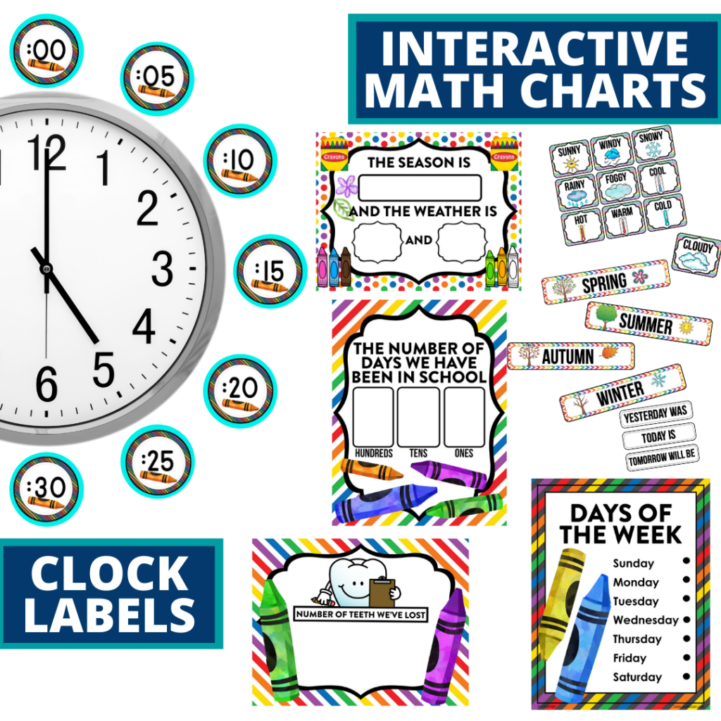 crayons themed math resources for telling time, place value and the days of the week