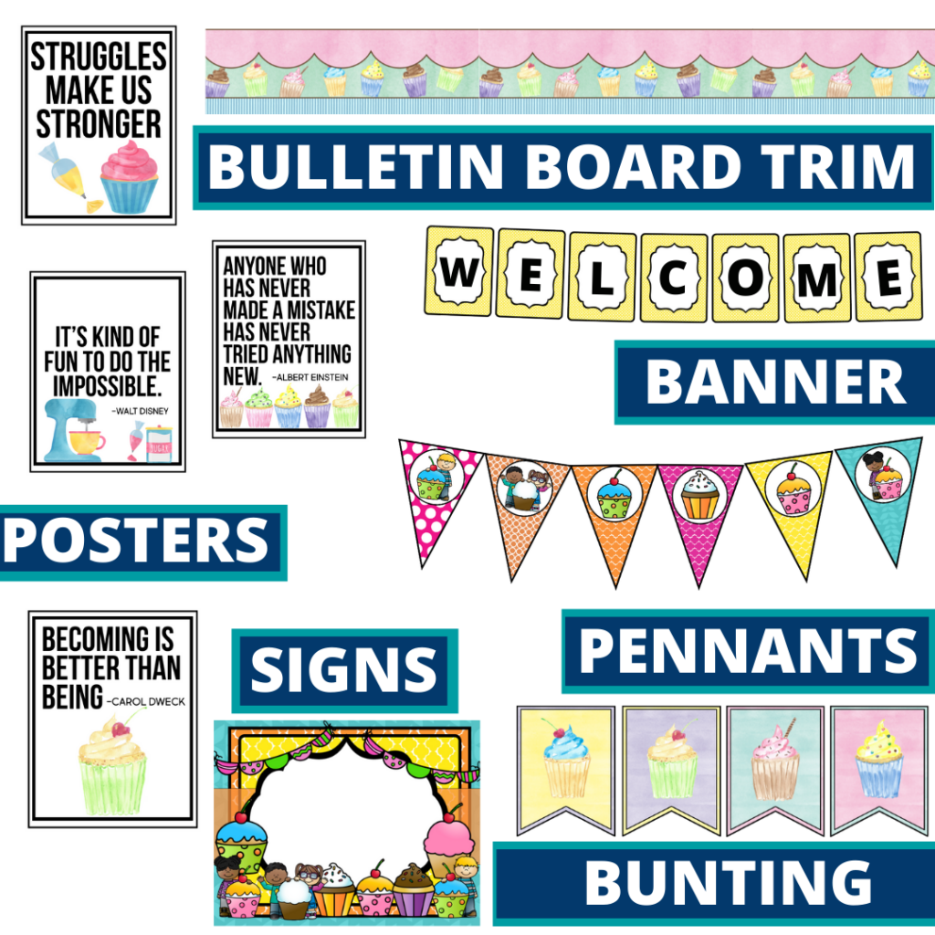 cupcakes theme bulletin board trim with pennants, banner and bunting