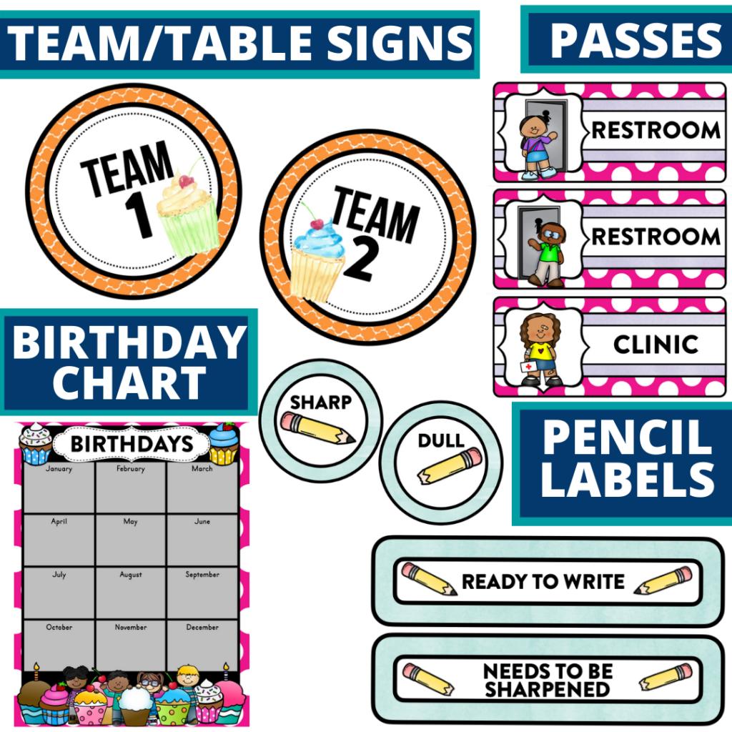 printable and editable cupcakes theme classroom decor packets