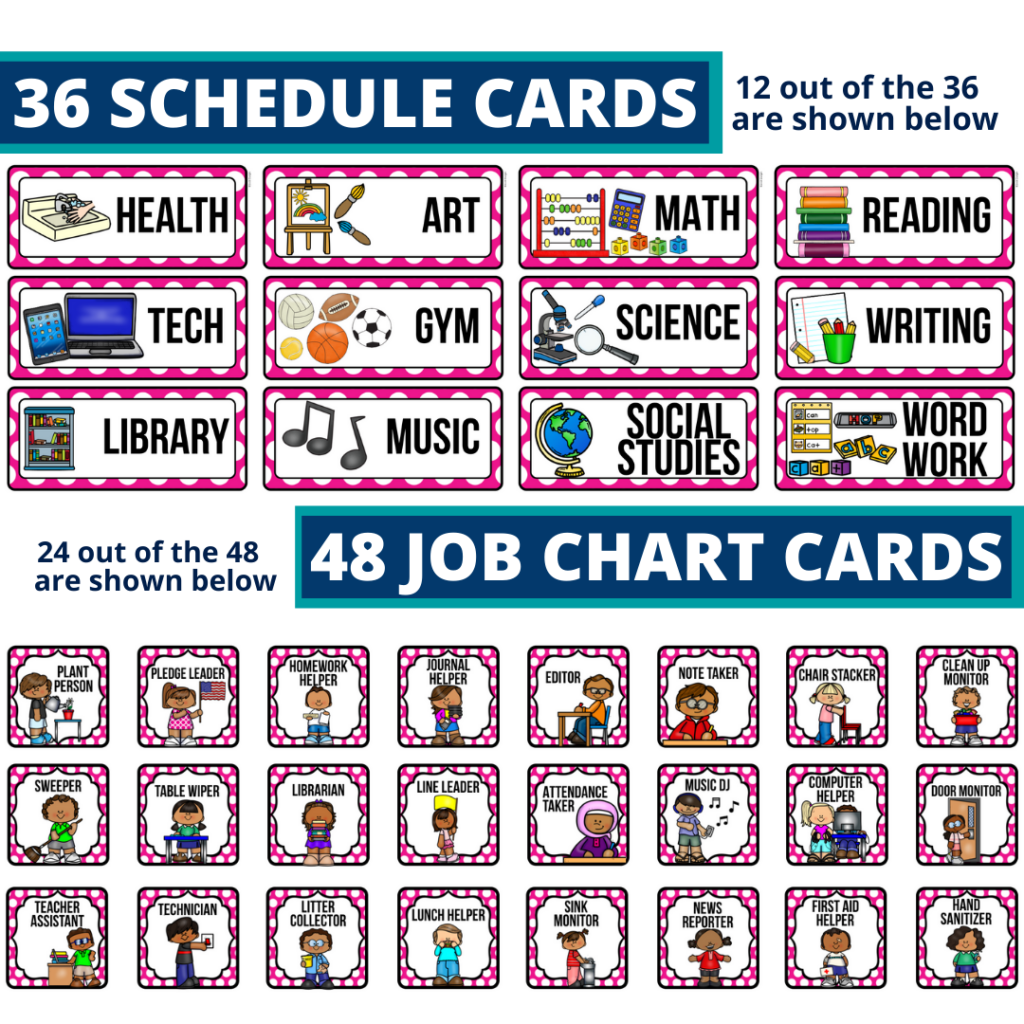 editable elementary schedule cards and job chart labels with a cupcakes theme