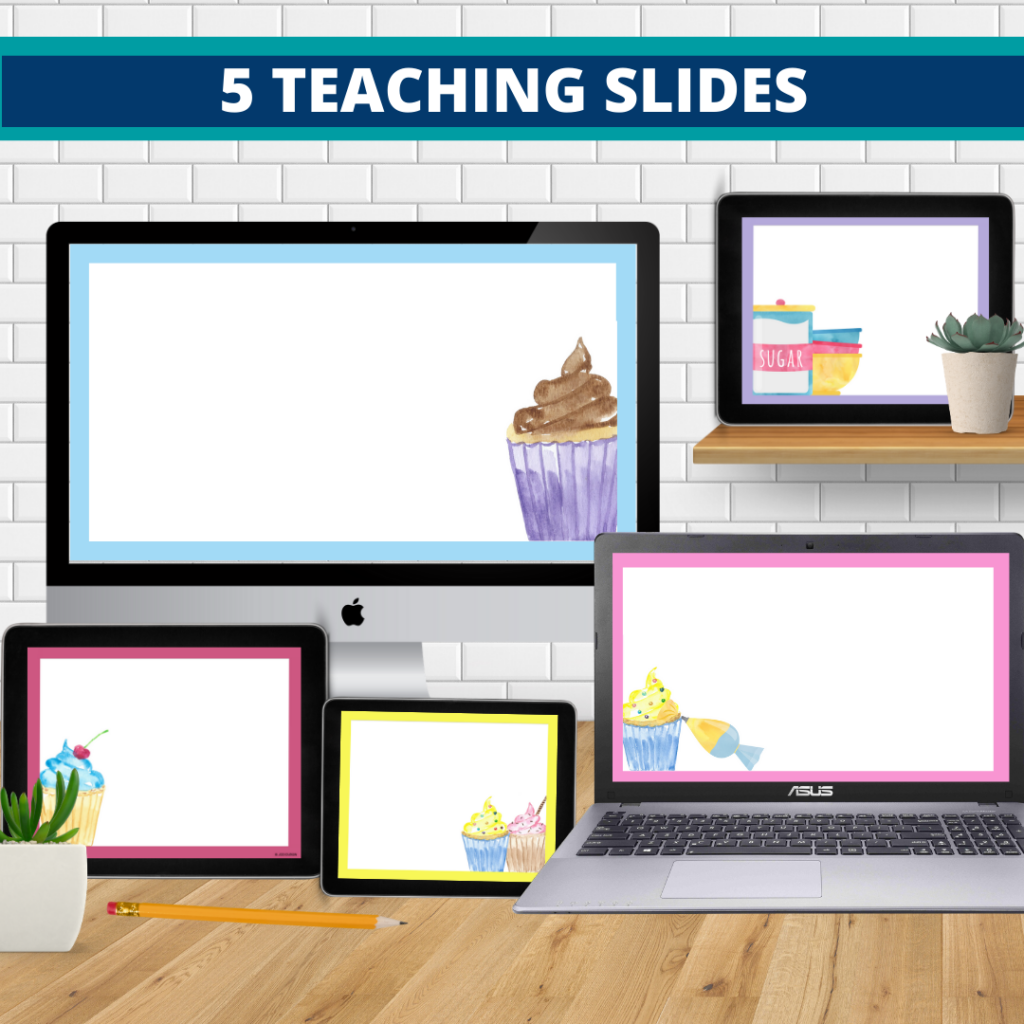 cupcakes theme google classroom slides and powerpoint templates for elementary teachers shown on computers