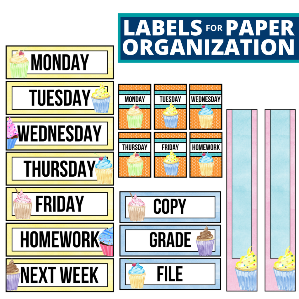 cupcakes theme labels for paper organization in the classroom