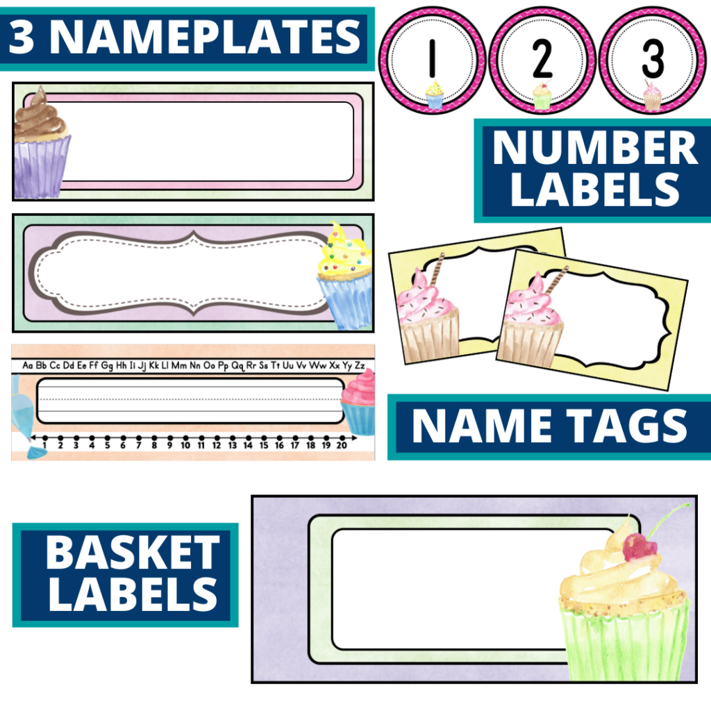 editable nameplates and basket labels for a cupcakes themed classroom
