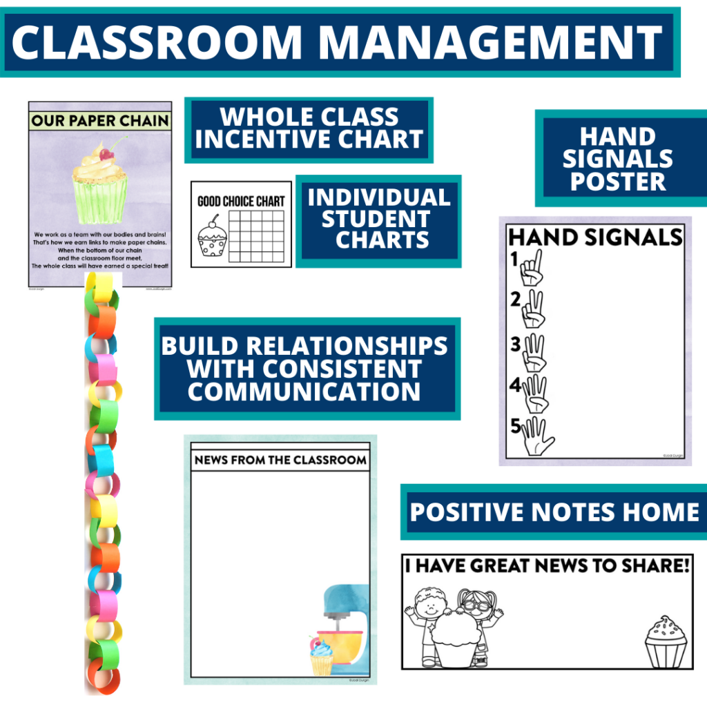 cupcakes themed tools for improving student behavior in an elementary classroom