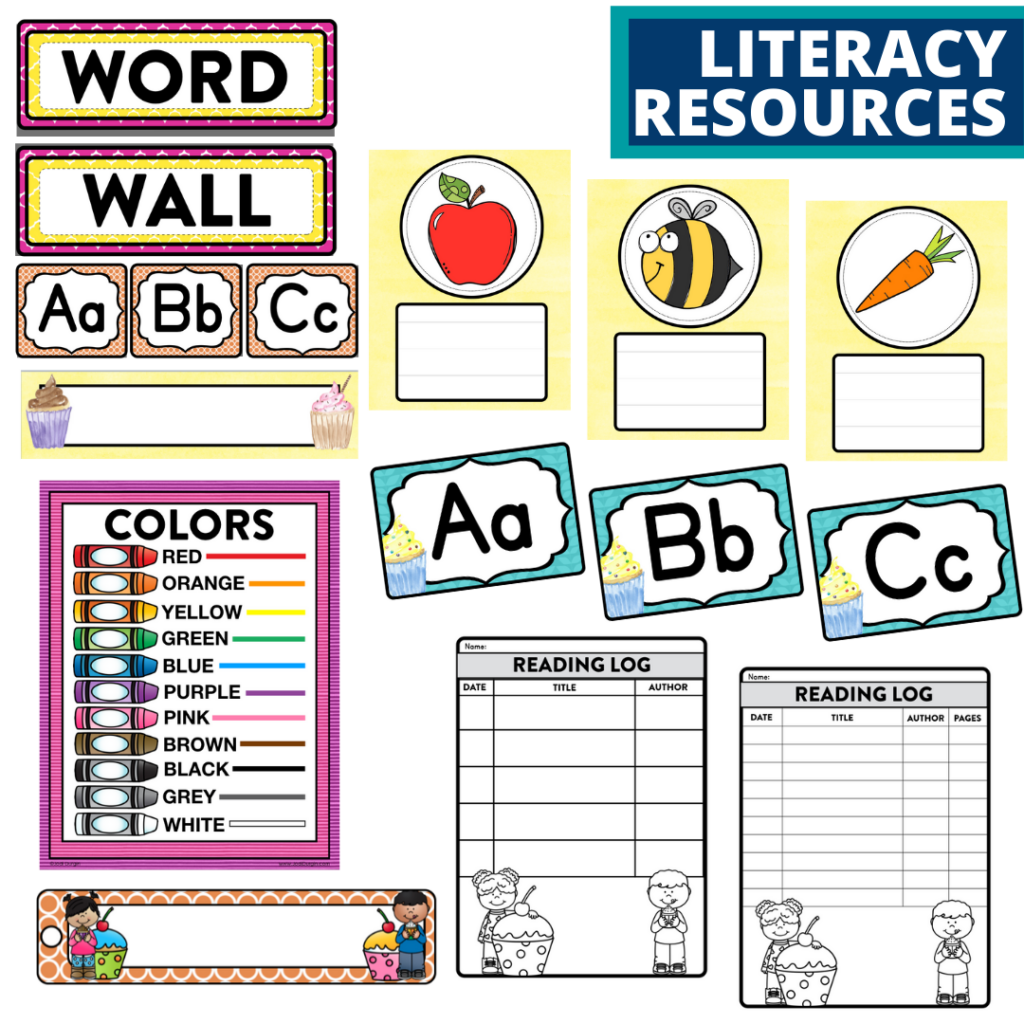 elementary classroom word wall and reading logs for a cupcakes themed classroom