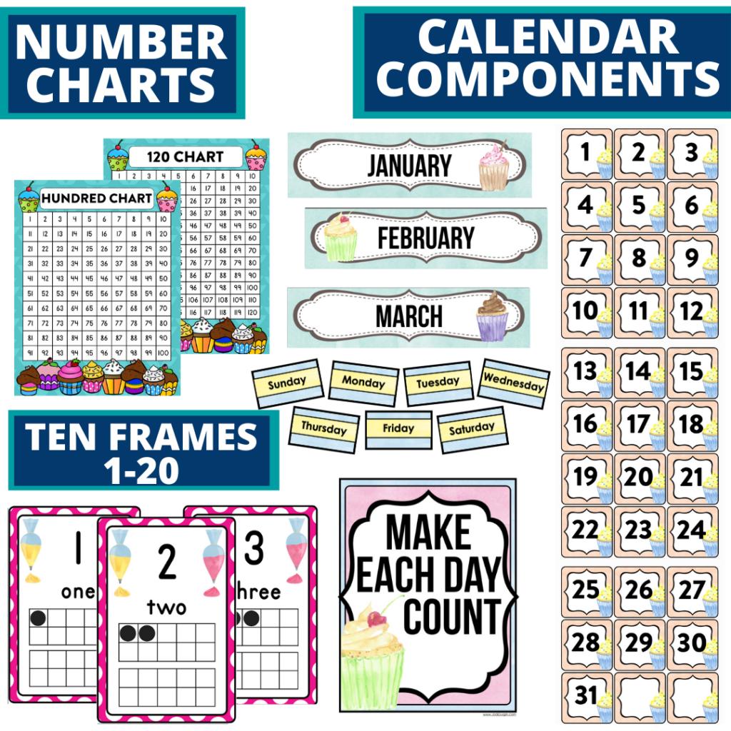 DIY printable classroom calendar for elementary teachers using a cupcakes classroom theme