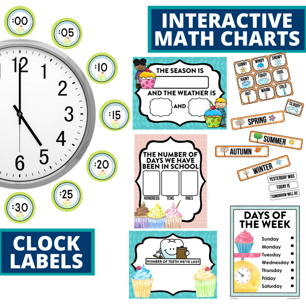 cupcakes themed math resources for telling time, place value and the days of the week