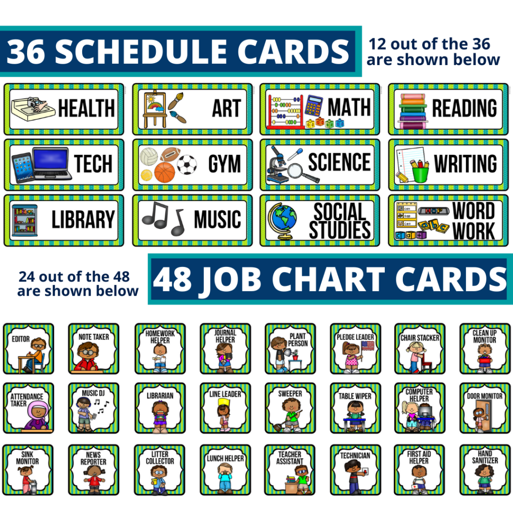 editable elementary schedule cards and job chart labels with a dinosaurs theme