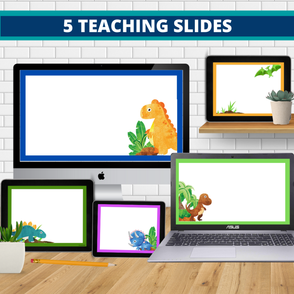 dinosaurs theme google classroom slides and powerpoint templates for elementary teachers shown on computers