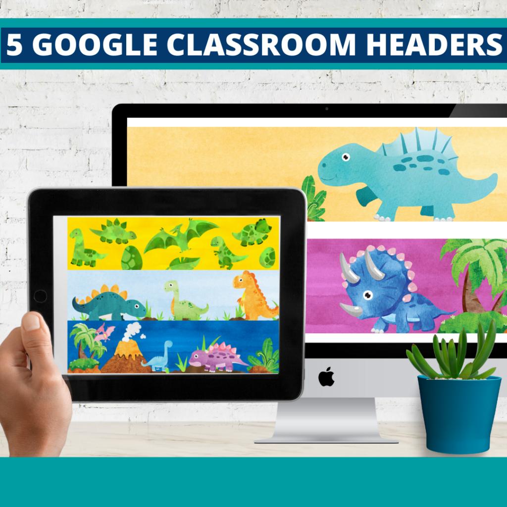 dinosaurs classroom themed google classroom headers and google classroom banners