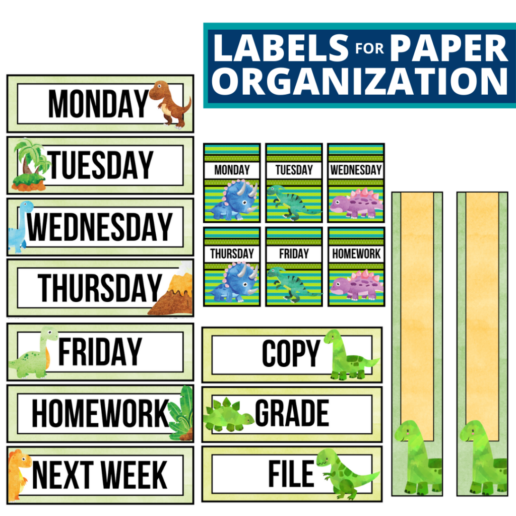 dinosaurs theme labels for paper organization in the classroom