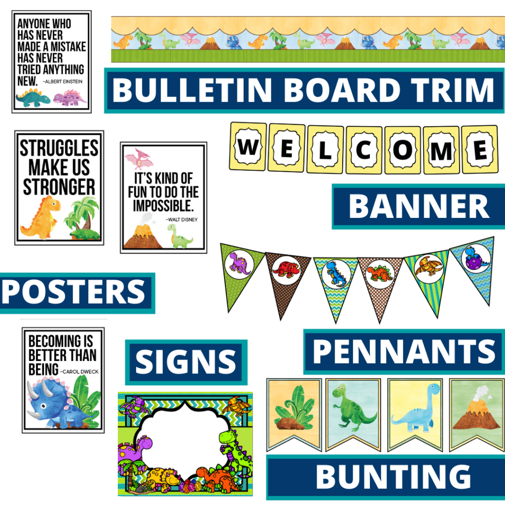 dinosaurs theme bulletin board trim with pennants, banner and bunting