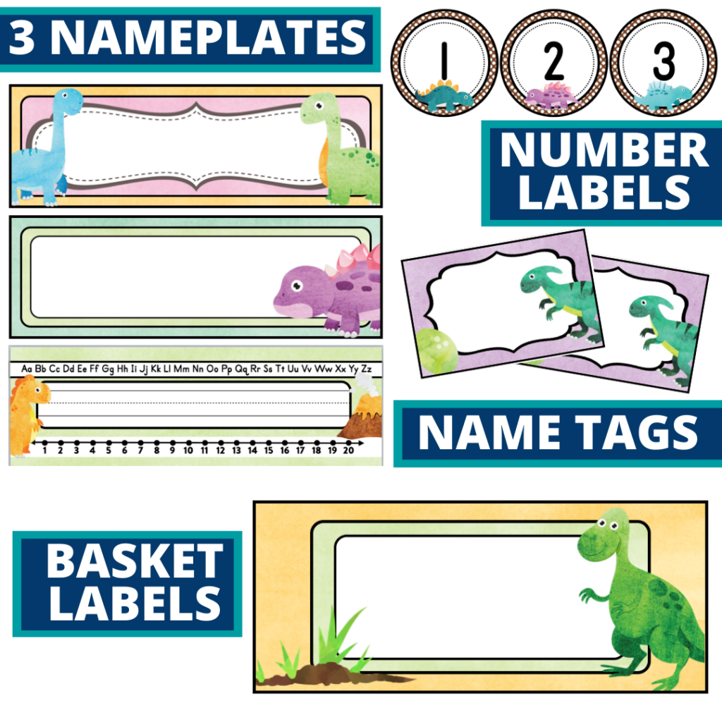 editable nameplates and basket labels for a dinosaurs themed classroom