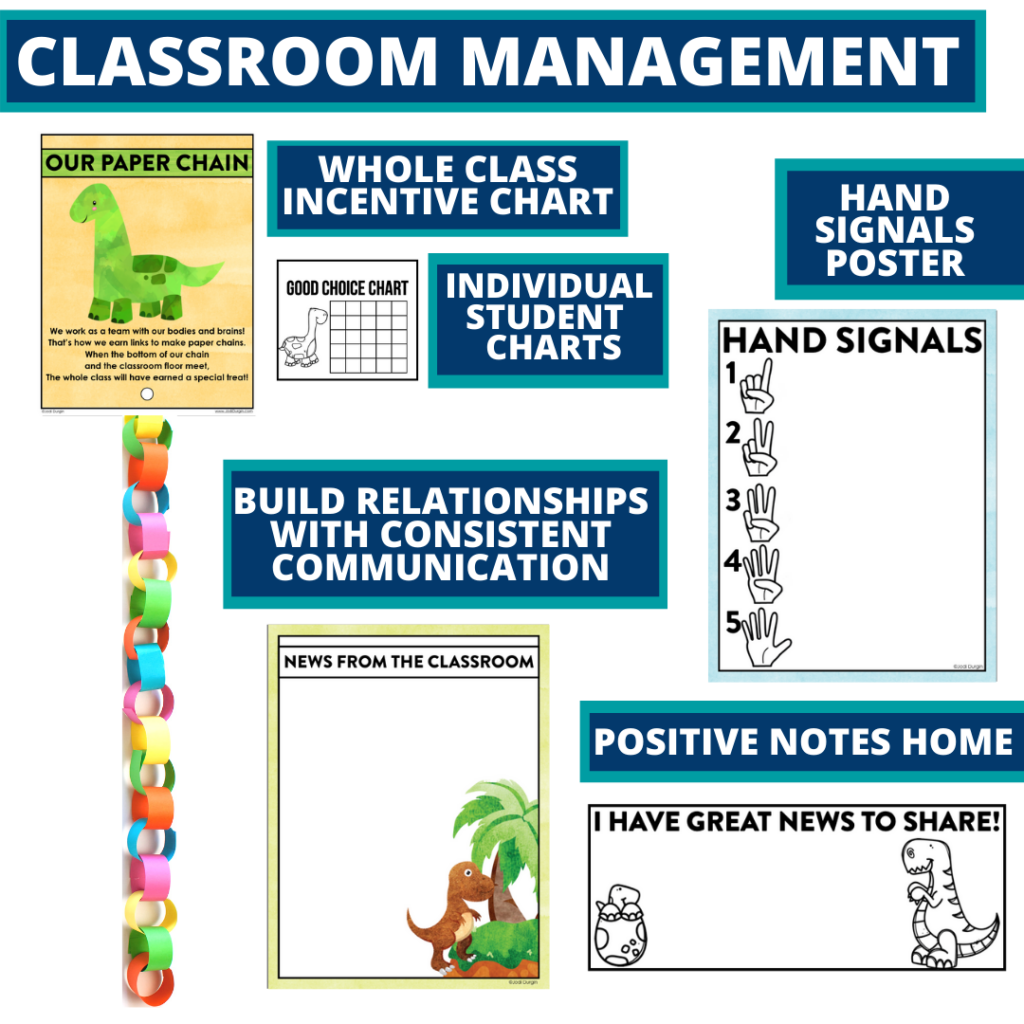 dinosaurs themed tools for improving student behavior in an elementary classroom