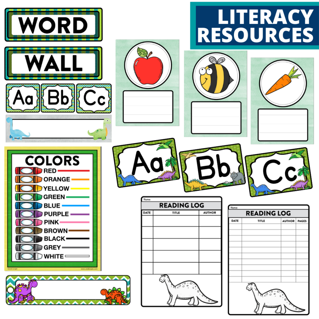 elementary classroom word wall and reading logs for a dinosaurs themed classroom