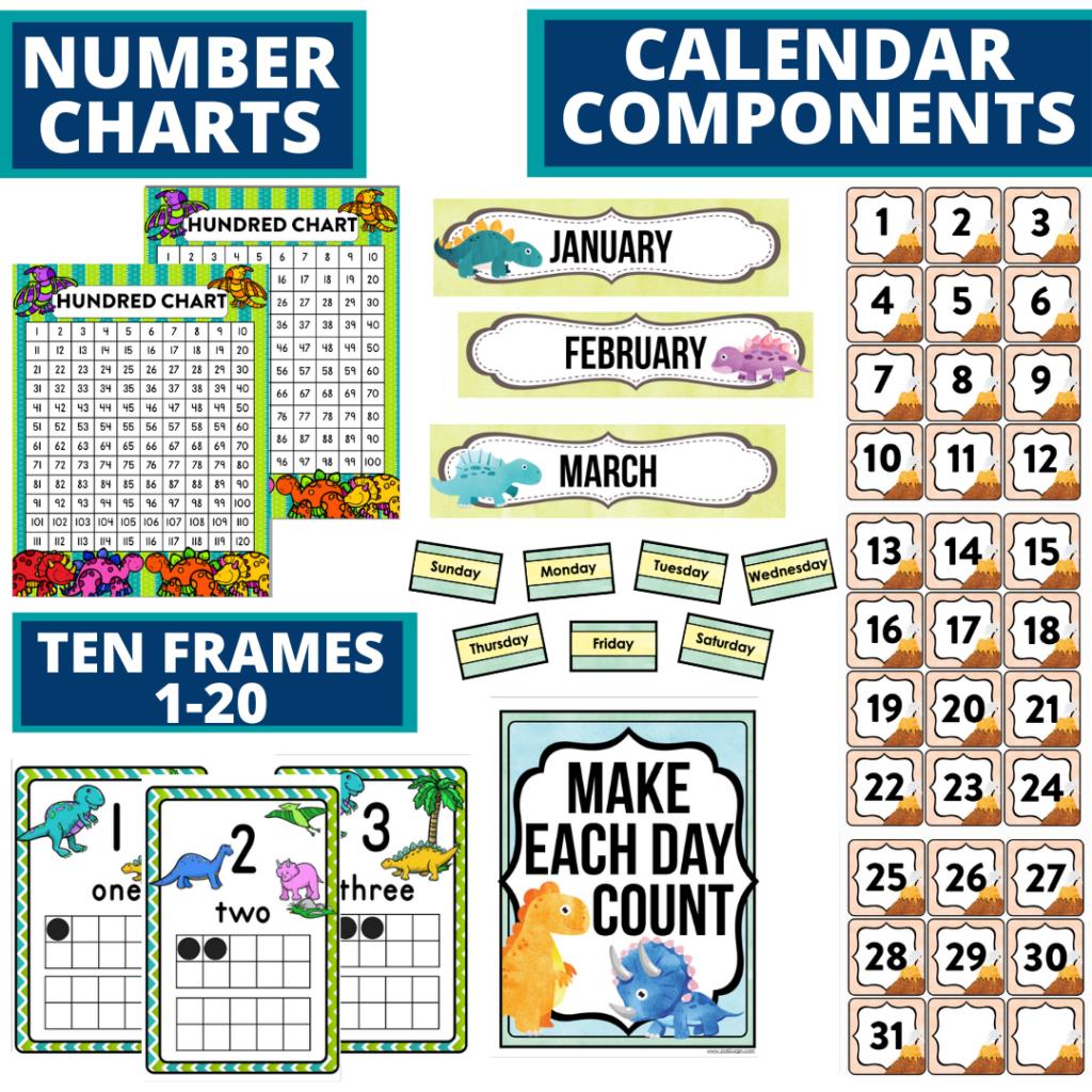DIY printable classroom calendar for elementary teachers using a dinosaurs classroom theme