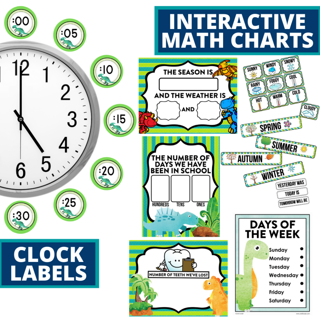 dinosaurs themed math resources for telling time, place value and the days of the week