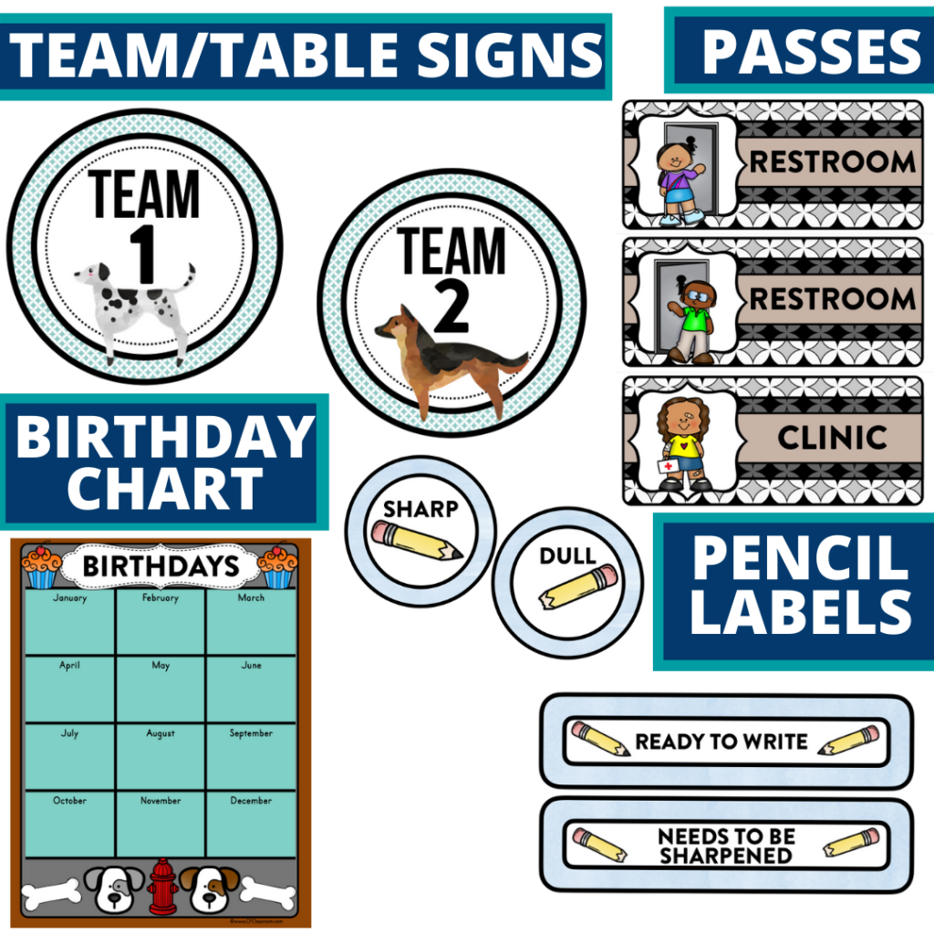 printable and editable dogs theme classroom decor packets