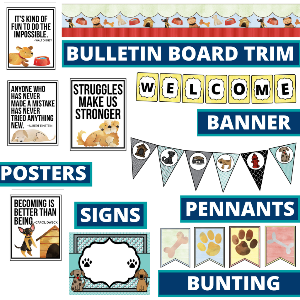 dogs theme bulletin board trim with pennants, banner and bunting
