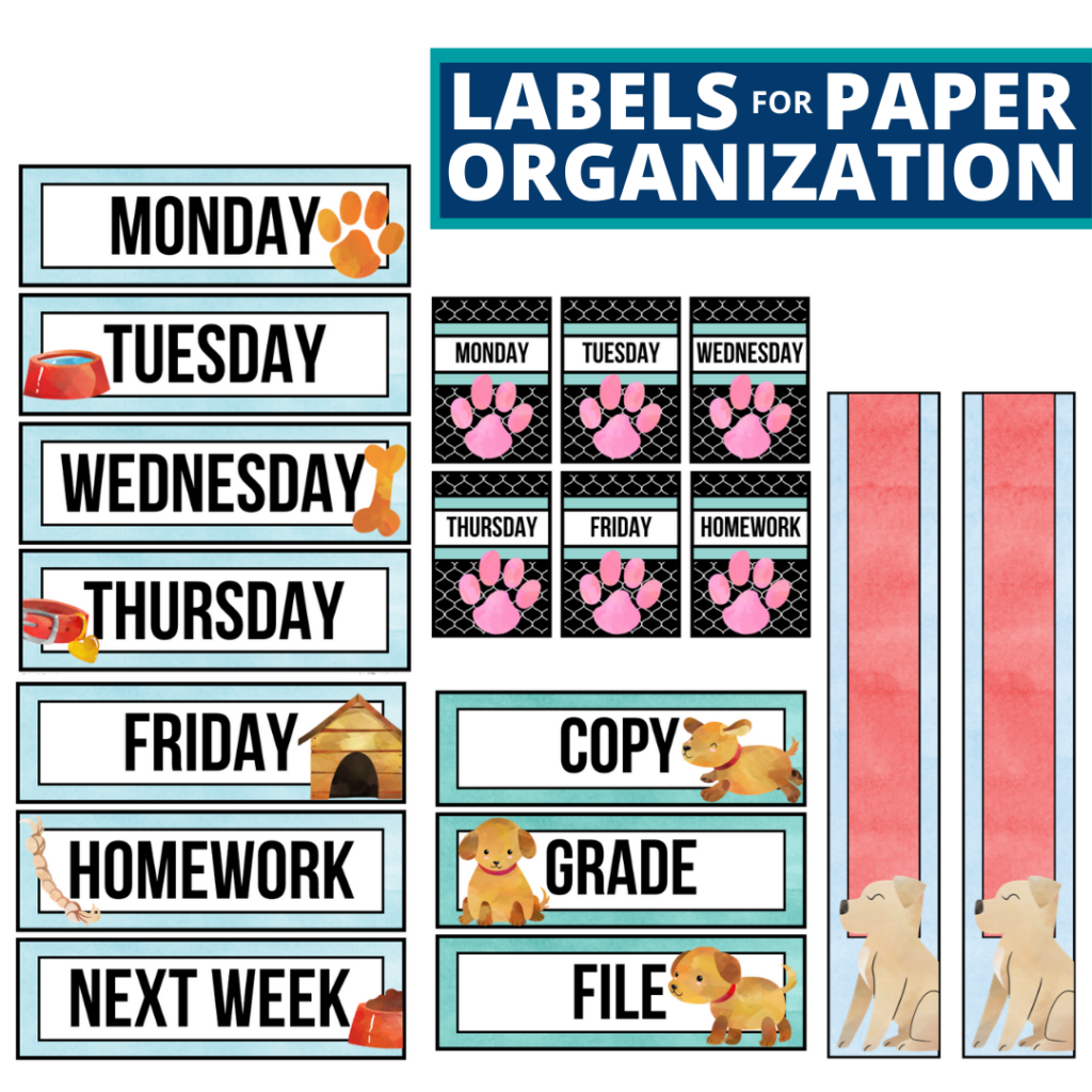 dogs theme labels for paper organization in the classroom