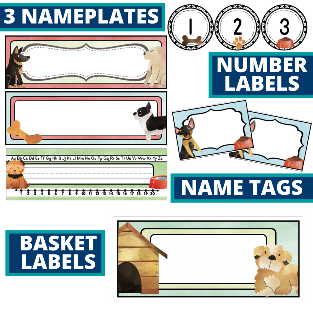 editable nameplates and basket labels for a dog themed classroom