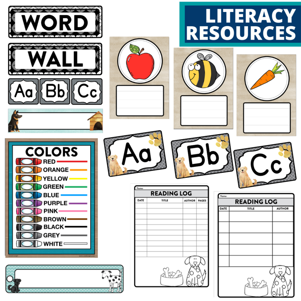 elementary classroom word wall and reading logs for a dog themed classroom