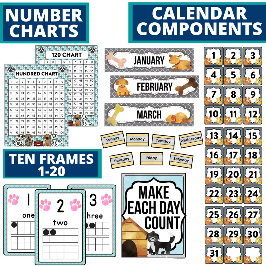 DIY printable classroom calendar for elementary teachers using a dog classroom theme