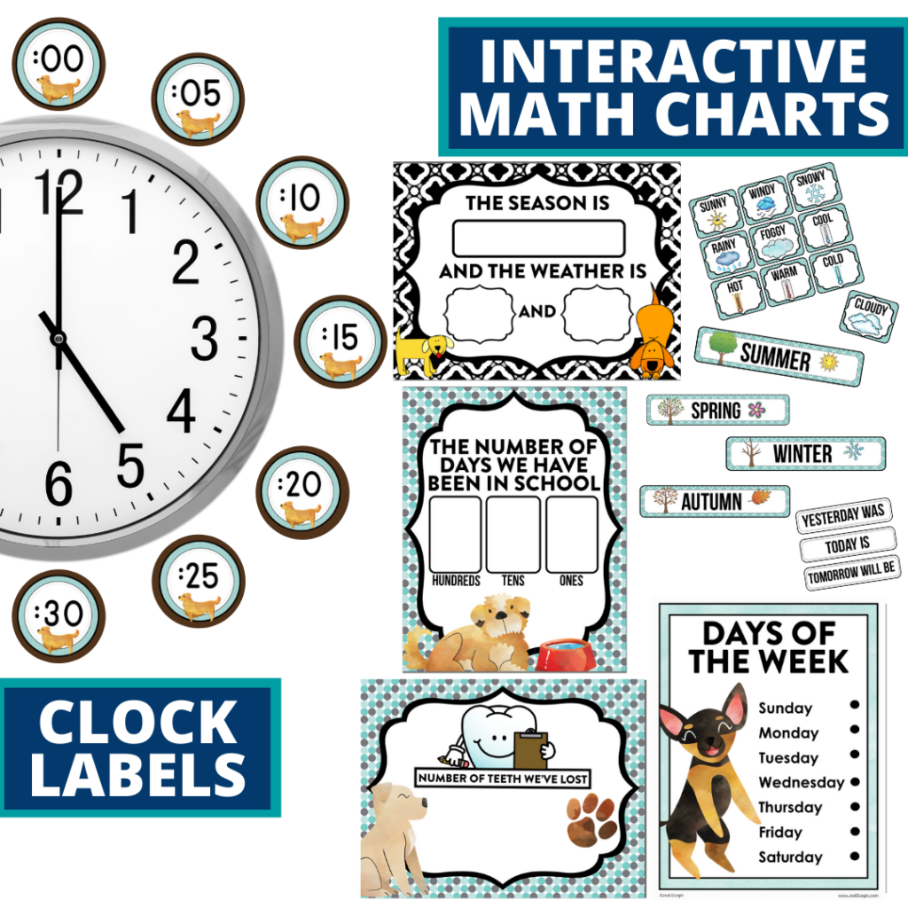 dogs themed math resources for telling time, place value and the days of the week