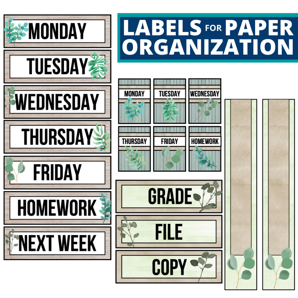 eucalyptus theme labels for paper organization in the classroom