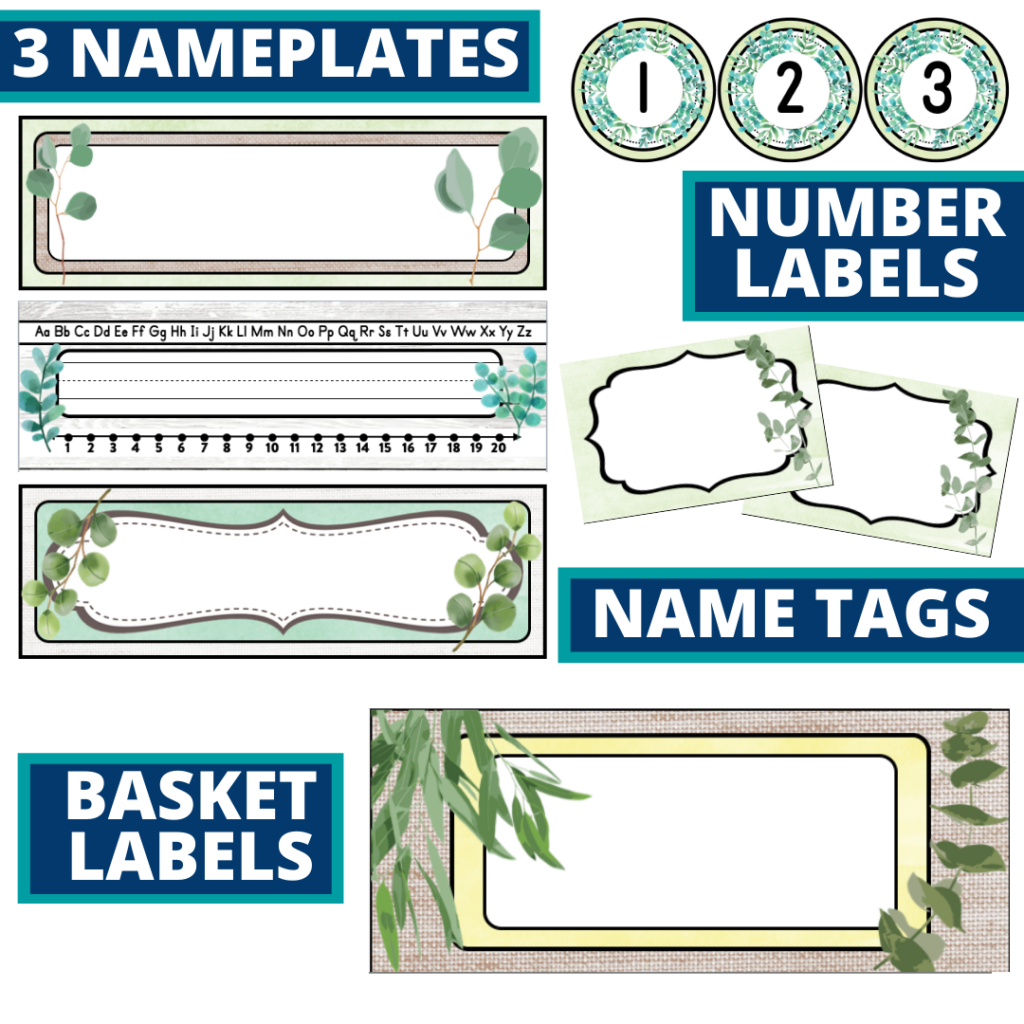 editable nameplates and basket labels for a eucalyptus themed classroom