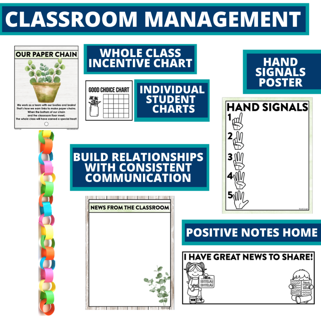 eucalyptus themed tools for improving student behavior in an elementary classroom