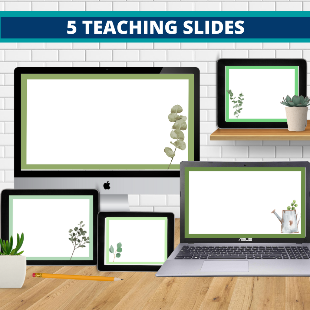 eucalyptus theme google classroom slides and powerpoint templates for elementary teachers shown on computers