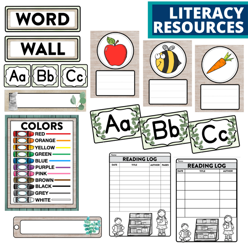 elementary classroom word wall and reading logs for a eucalyptus themed classroom